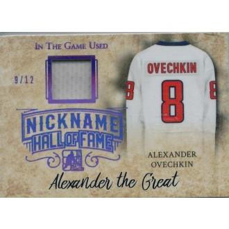 Jersey karty - Ovechkin Alex - 2017-18 Leaf ITG Used The Nickname Hall of Fame Memorabilia Purple Spectrum No.NHF-03