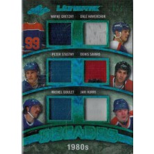 Gretzky Wayne, Hawerchuk Dale, Stastny Peter,Savard Denis,Goulet Michel,Kurri Jari - 2016-17 Leaf Ultimate Decades Memorabilia Green Spectrum No.UD-12