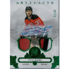 Zacha Pavel - 2017-18 Artifacts Autograph Materials Emerald No.36