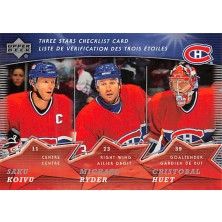 Huet Cristobal, Koivu Saku, Ryder Michael - 2007-08 McDonalds Upper Deck Three Stars Checklists No.CL1